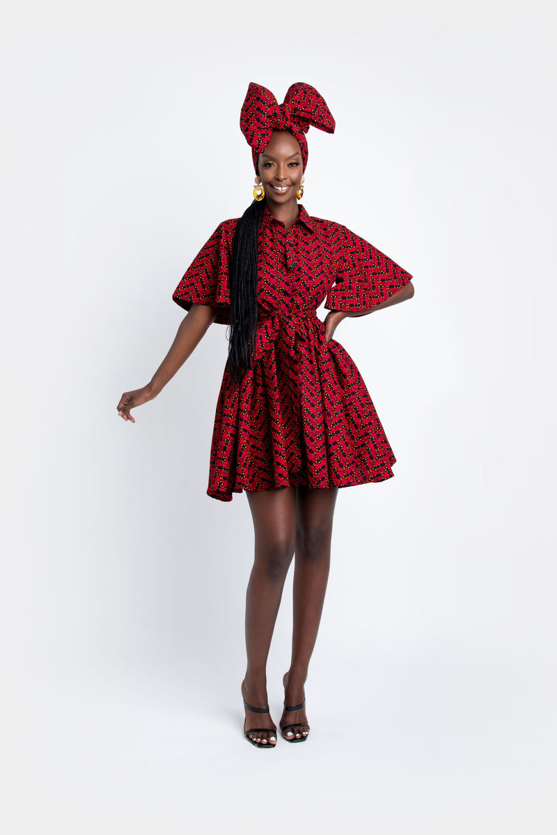 SHANIA African Print Shirt Mini Dress Mini Dresses ofuure