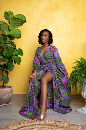 DERIN African Print Wrap Maxi Dress