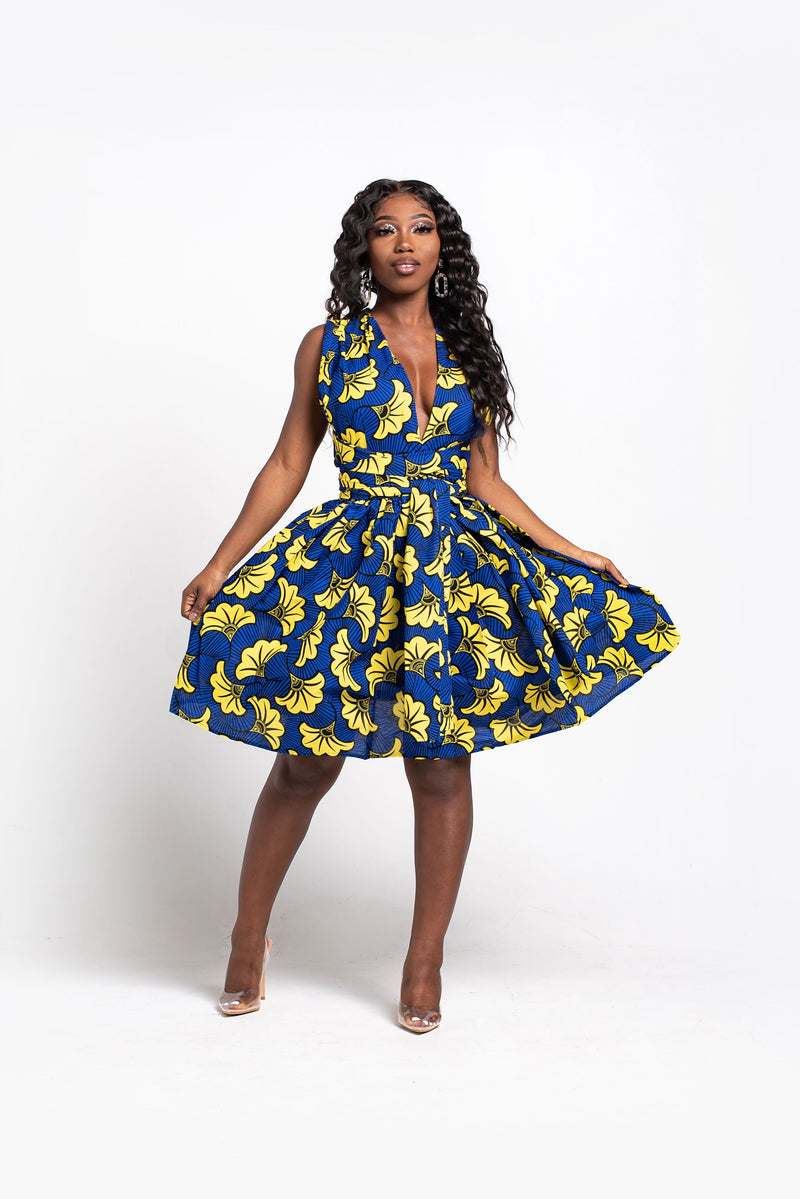 OKORIE African Print Mini Infinity dress
