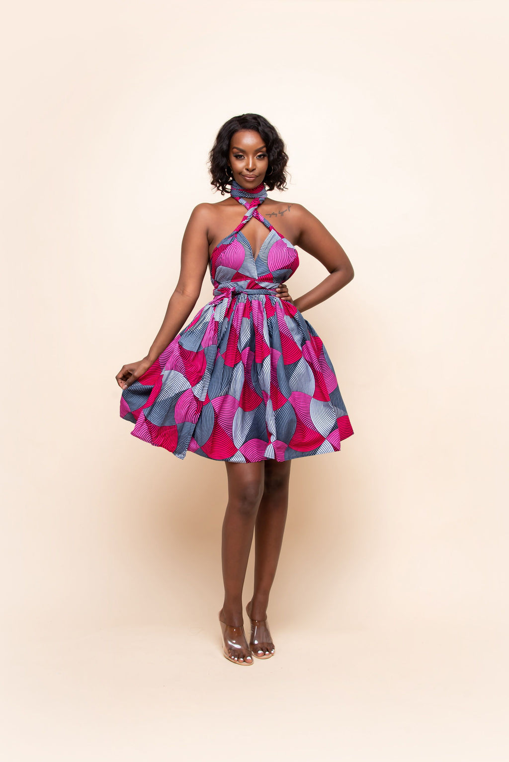 TOLANI African Print Mini Infinity dress