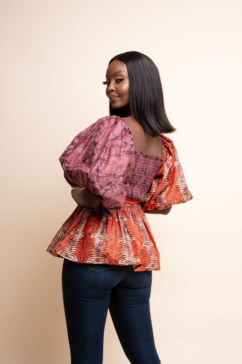 FIMI African print smocked top