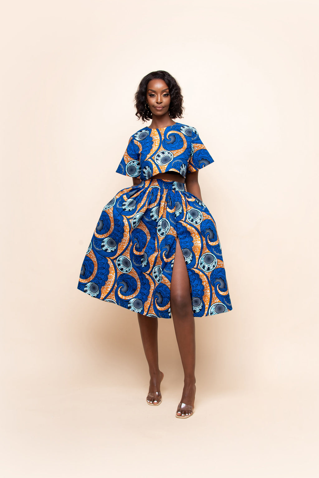 OYINDA One-sleeve Ruffle African Print Hi-low Dress