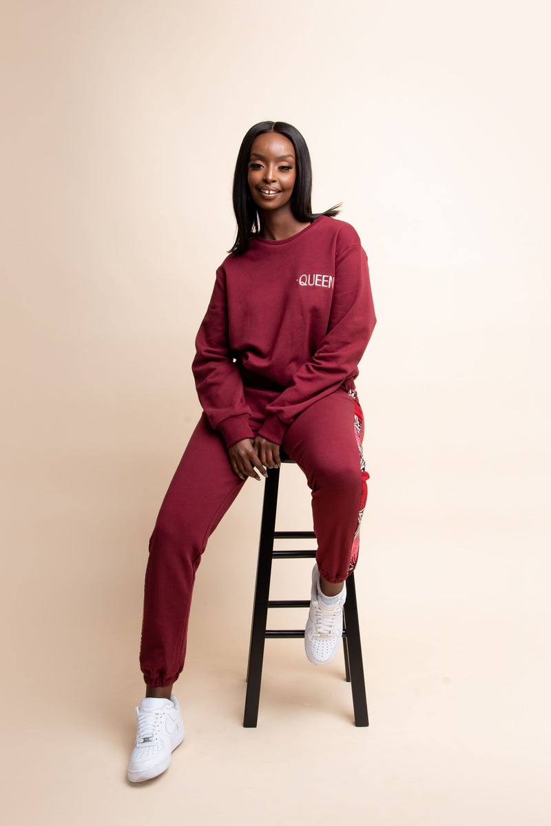 MAROON QUEEN Jogger Set