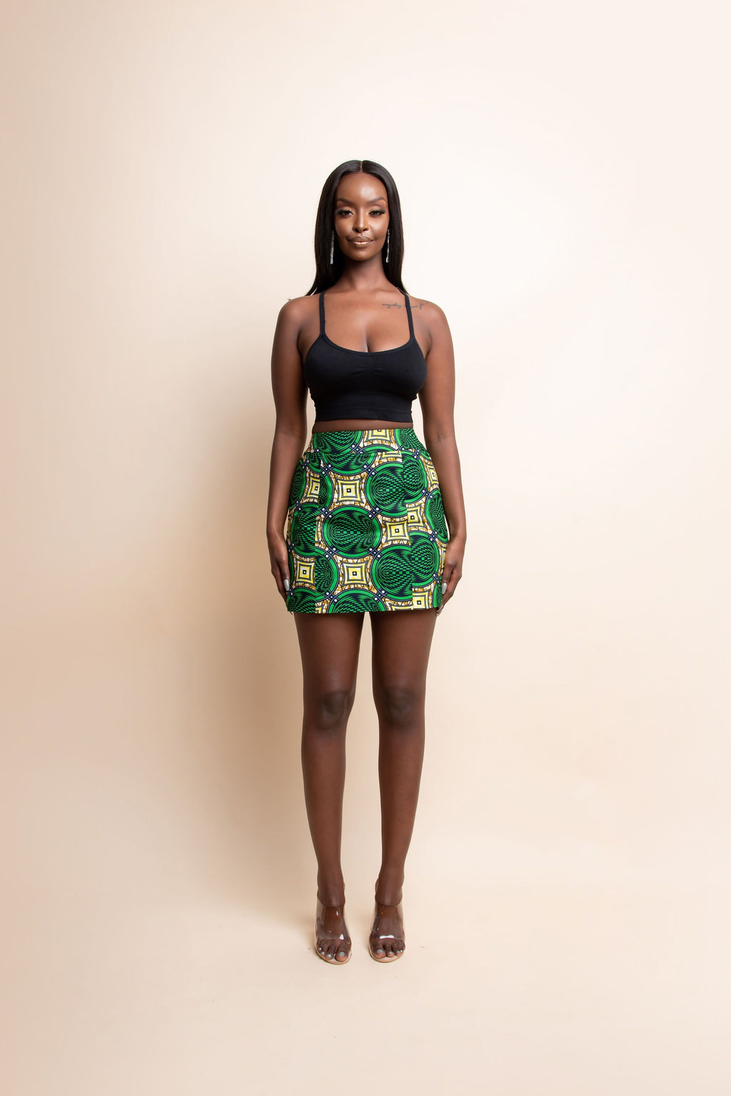 JUN African Print Mini Skirt