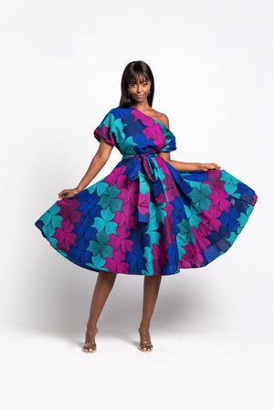 ZURI African Print Off-shoulder Midi Dress