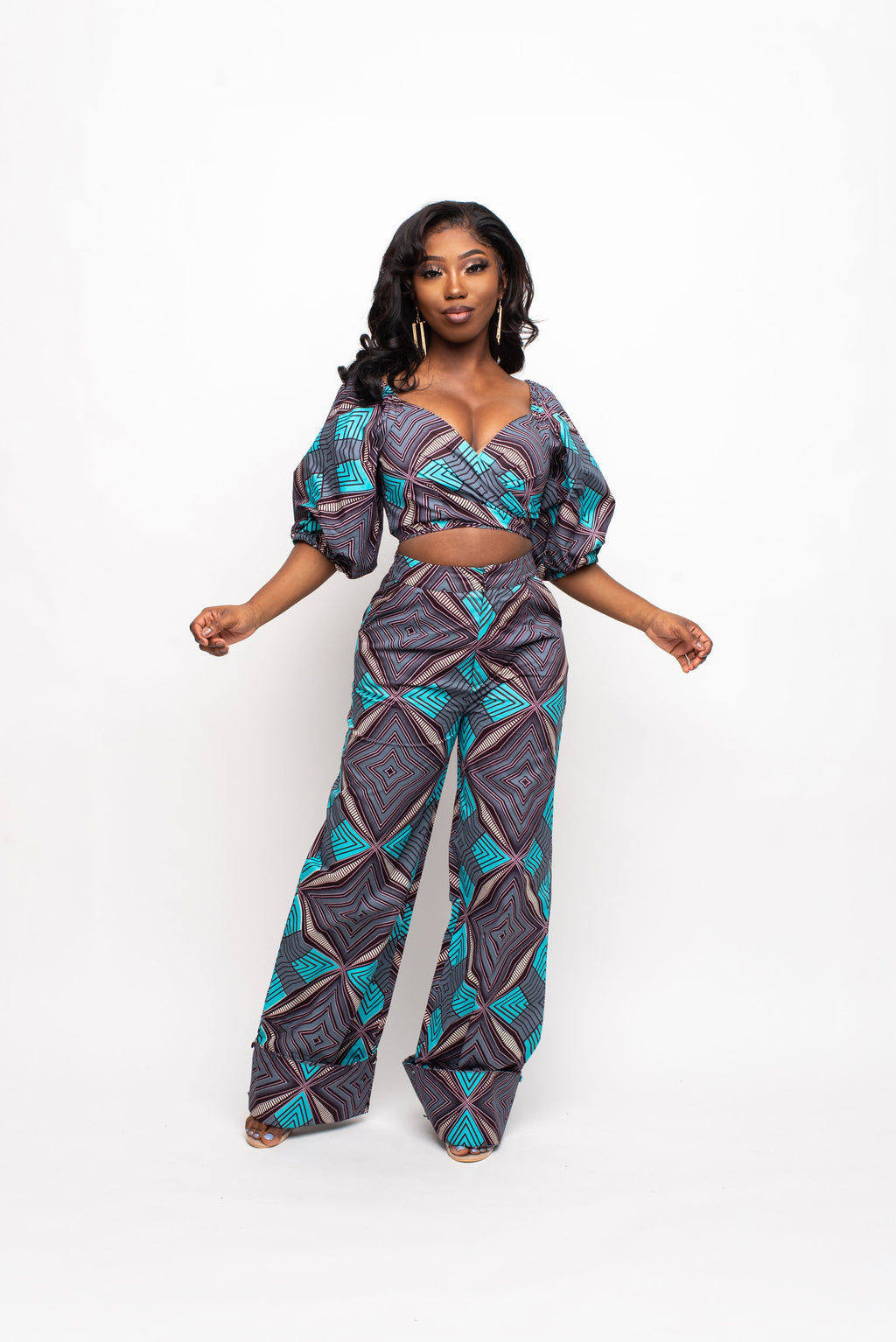 DAYA African Print Midi Dress (collar)