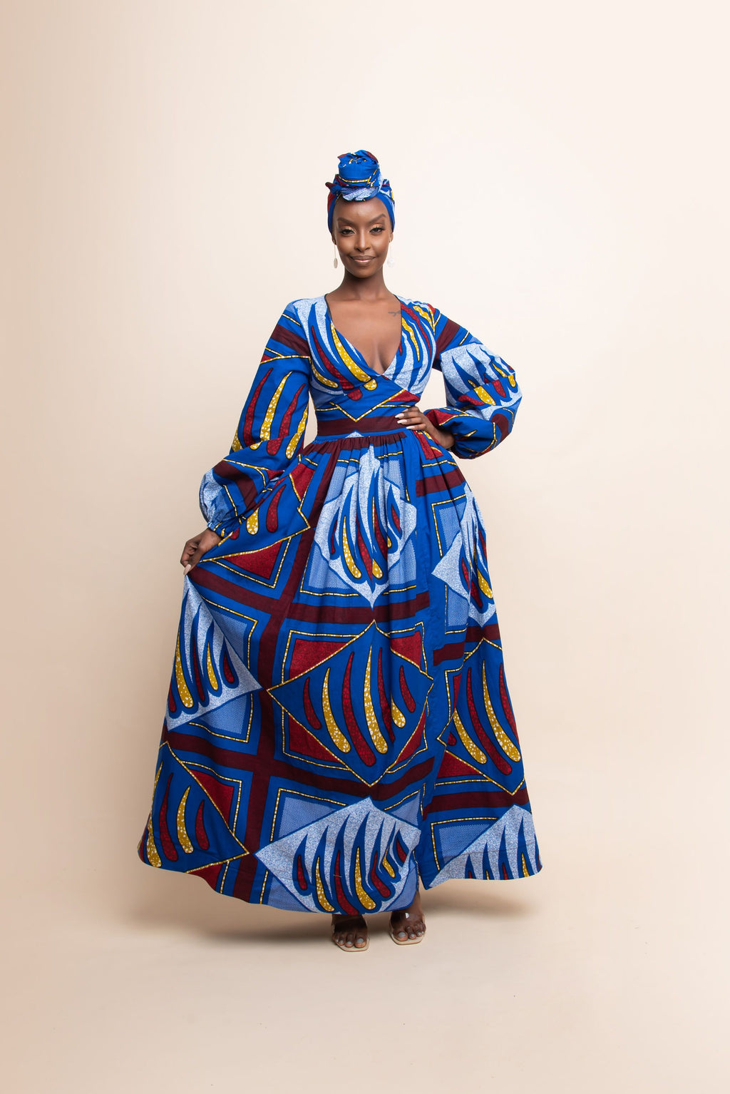 MOTUN African Print V-Neck Maxi Dress