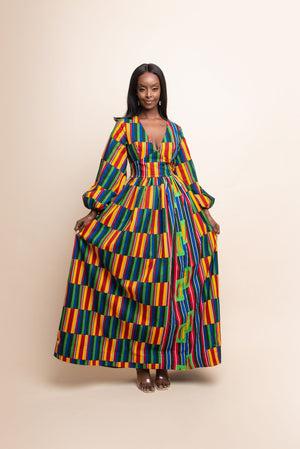 ADJUA African Print V-Neck Maxi Dress