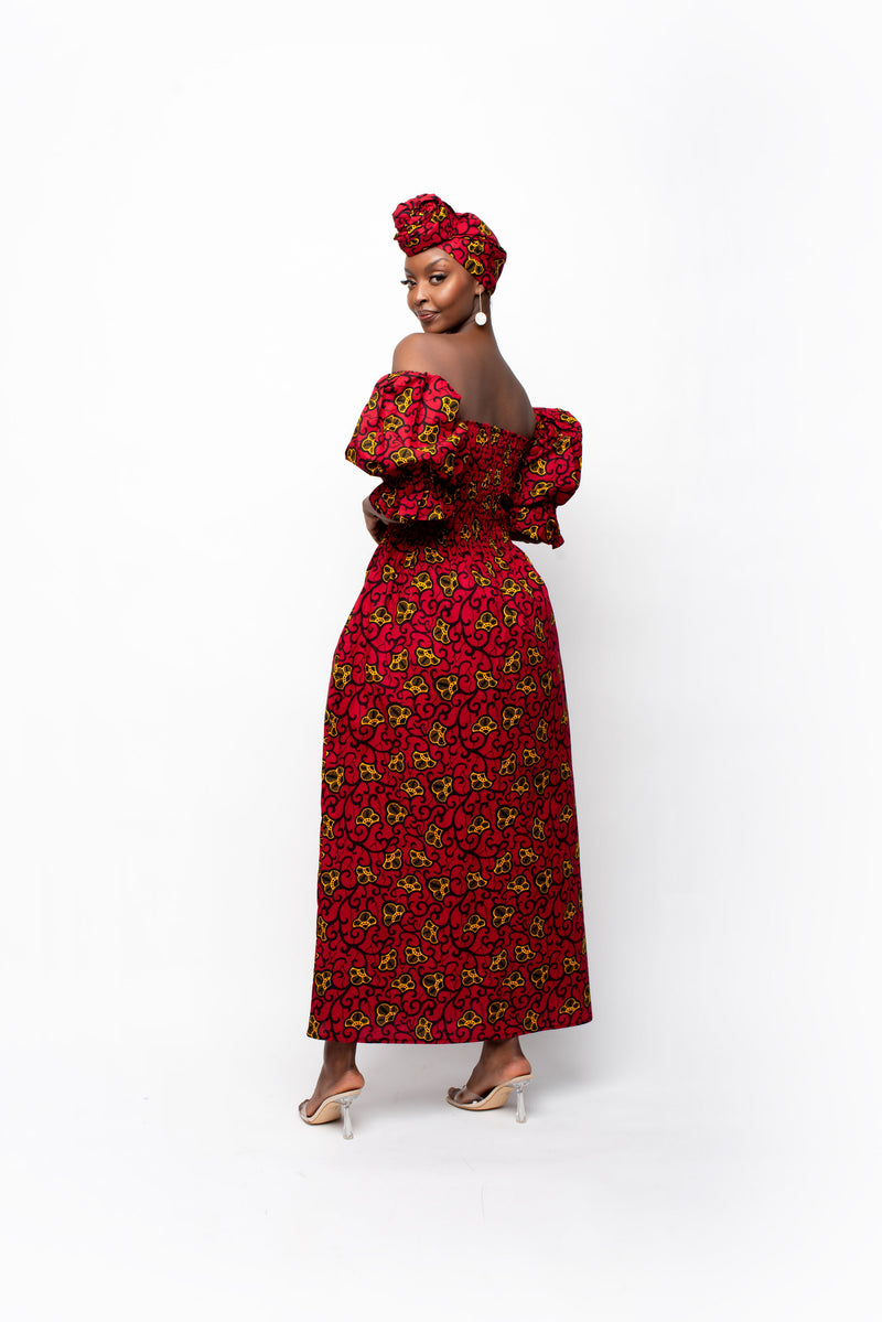 ADJUA One-sleeve Ruffle African Print Hi-low Dress