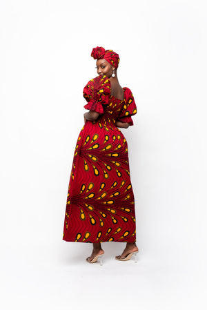ADWOA One-sleeve Ruffle African Print Hi-low Dress