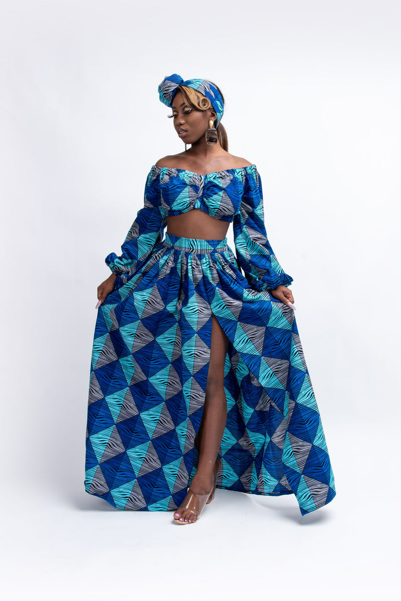 BANKOLE One-sleeve Ruffle African Print Hi-low Dress