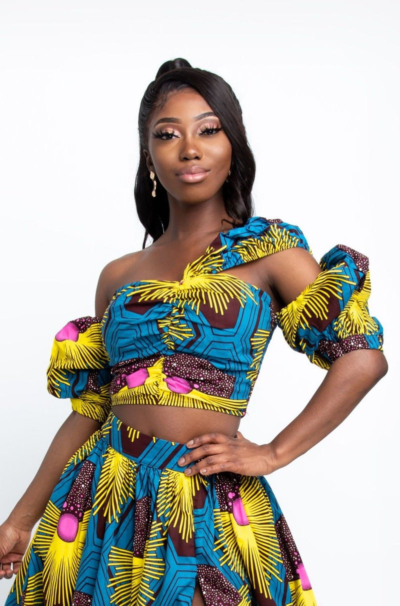 UDUAK African Print Crop Top crop Tops ofuure