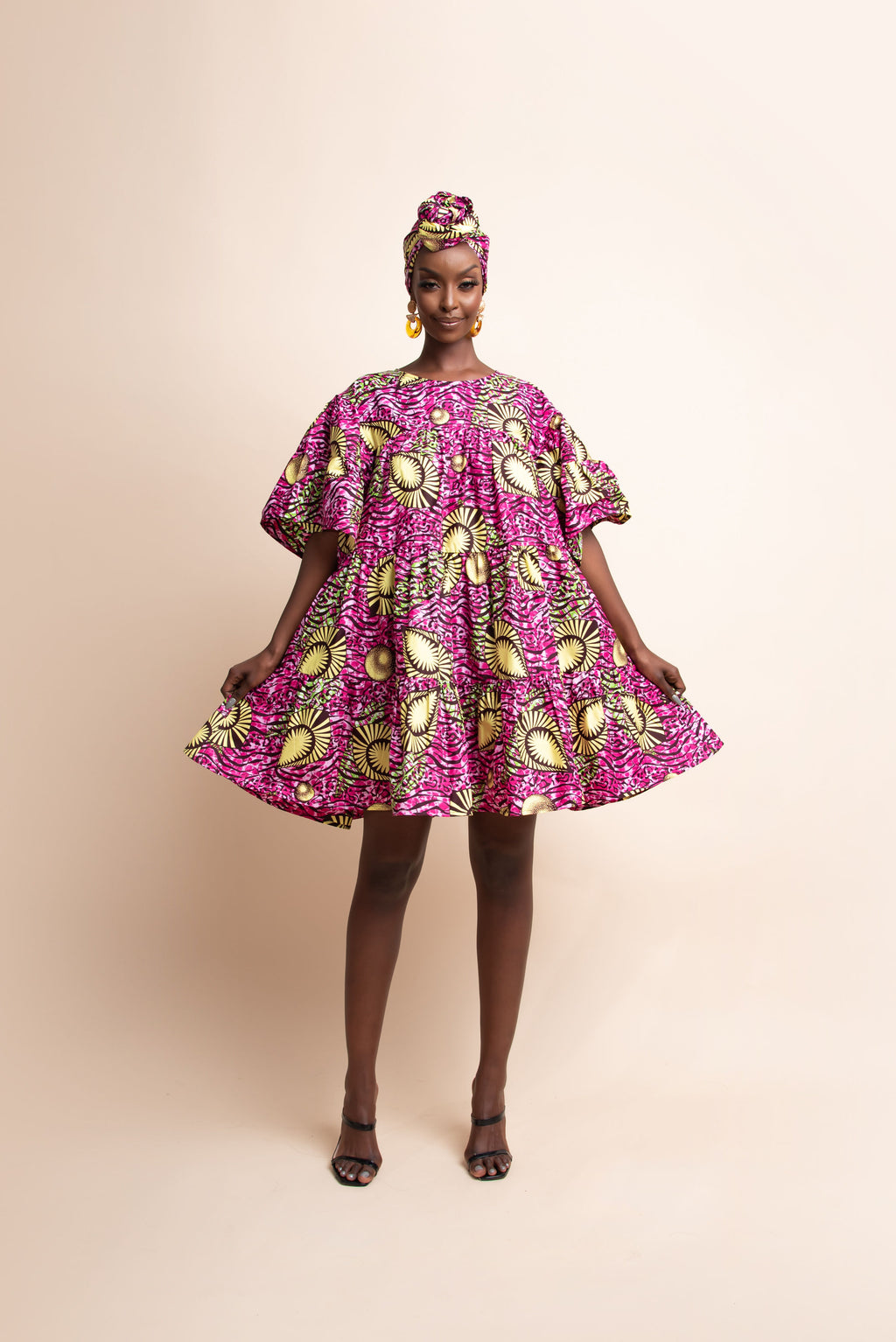 OGE African Print Tiered Mini Dress