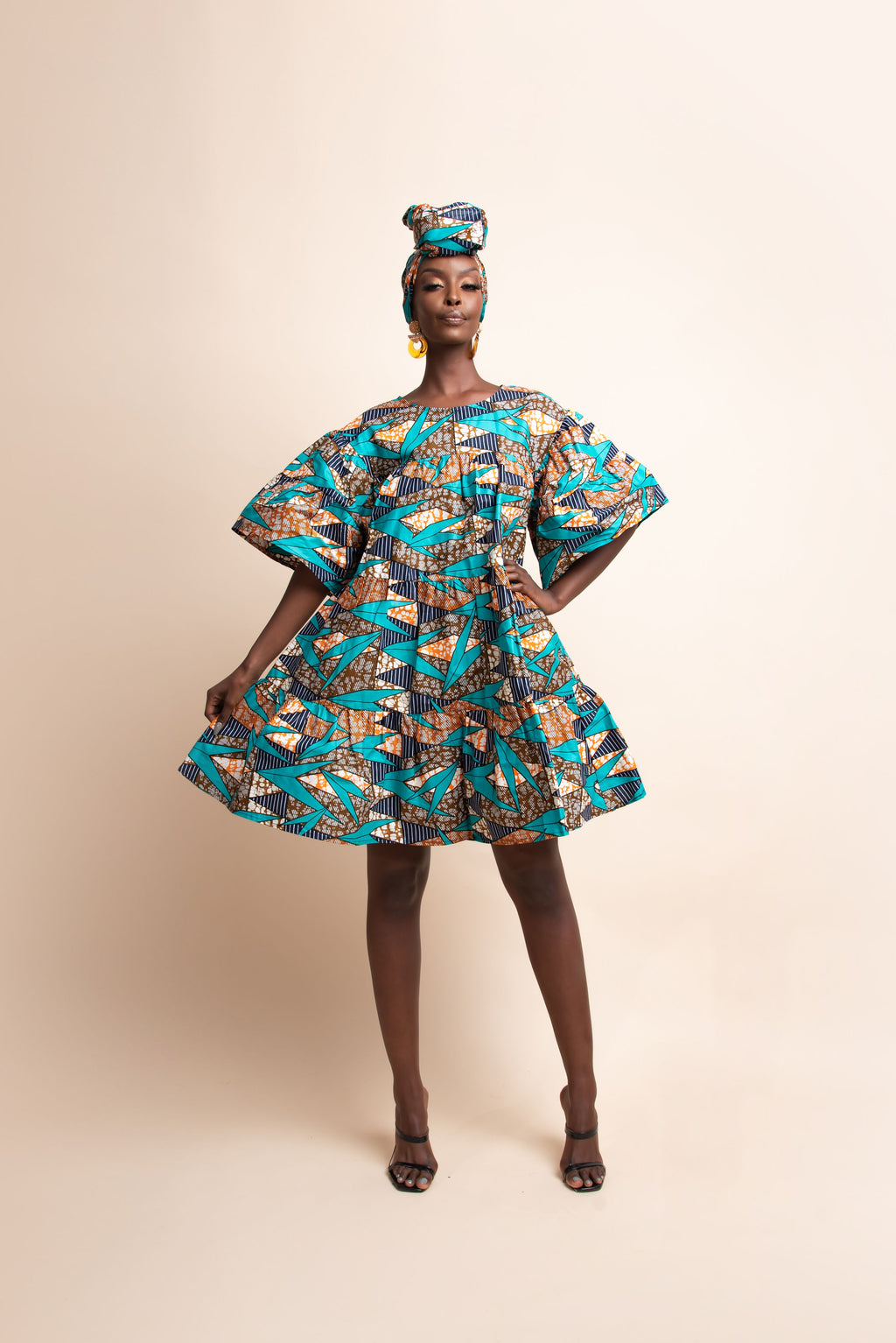 MAYA African Print Tiered Mini Dress