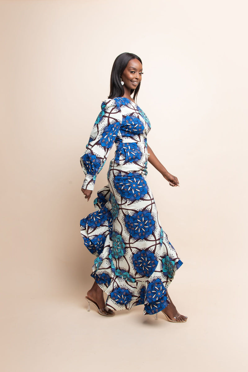 WALE One-sleeve Ruffle African Print Hi-low Dress