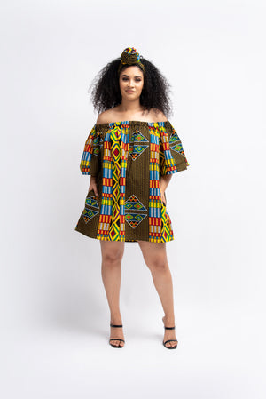 KOFO African Print Off-shoulder Mini Dress