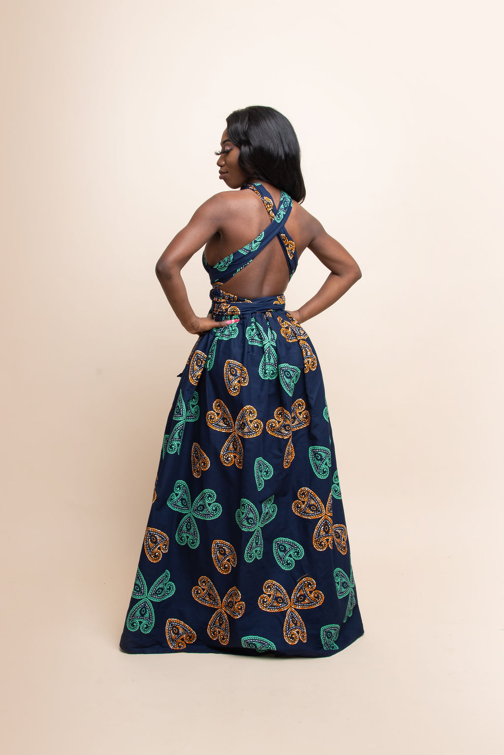 JADE African Print Midi Dress (collar)