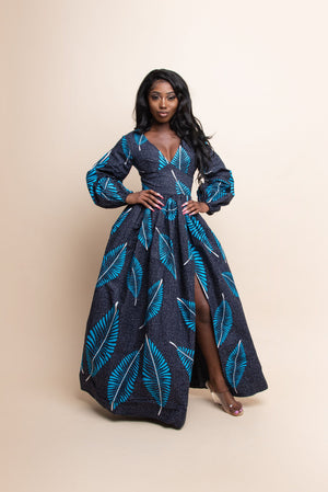 TOMIE African Print V-Neck Maxi Dress