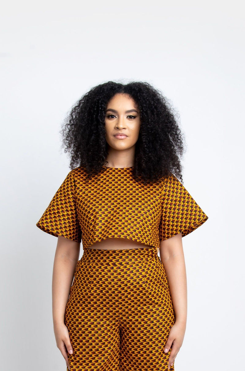 AGBANI African Print Crop Top (short sleeve) crop Tops ofuure