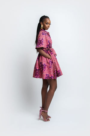 KHARI African Print Shirt Mini Dress