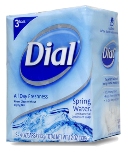 Dial Spring Water All Day Freshness Soap Bars, 3 Pack
