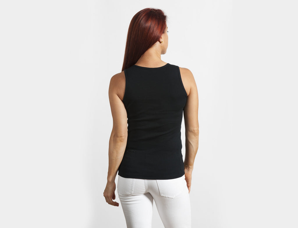 Black 100% Cotton Classic Tank Top - Lady Tank