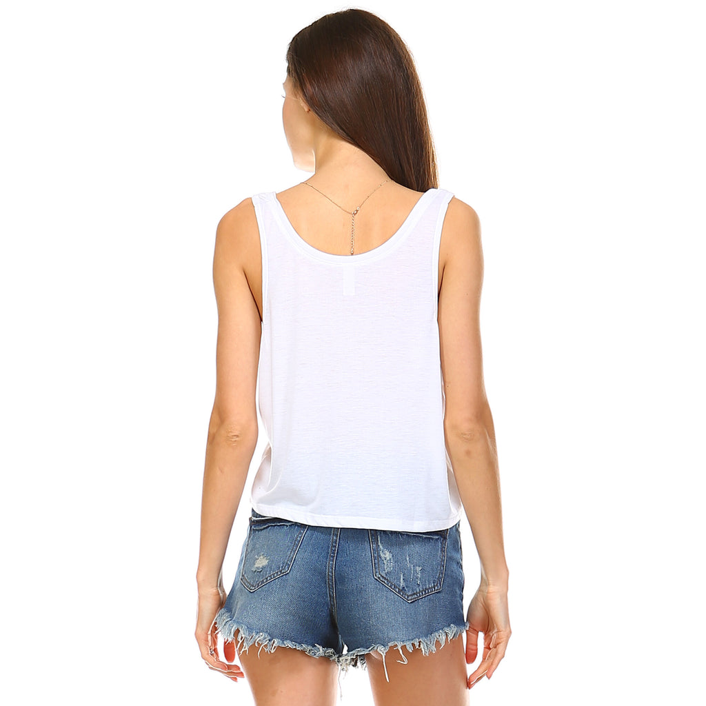 White Boxy Crop Tank Top - Lady Tank