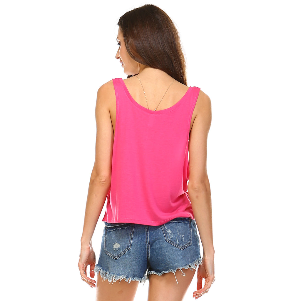 Hot Pink Boxy Crop Tank Top - Lady Tank