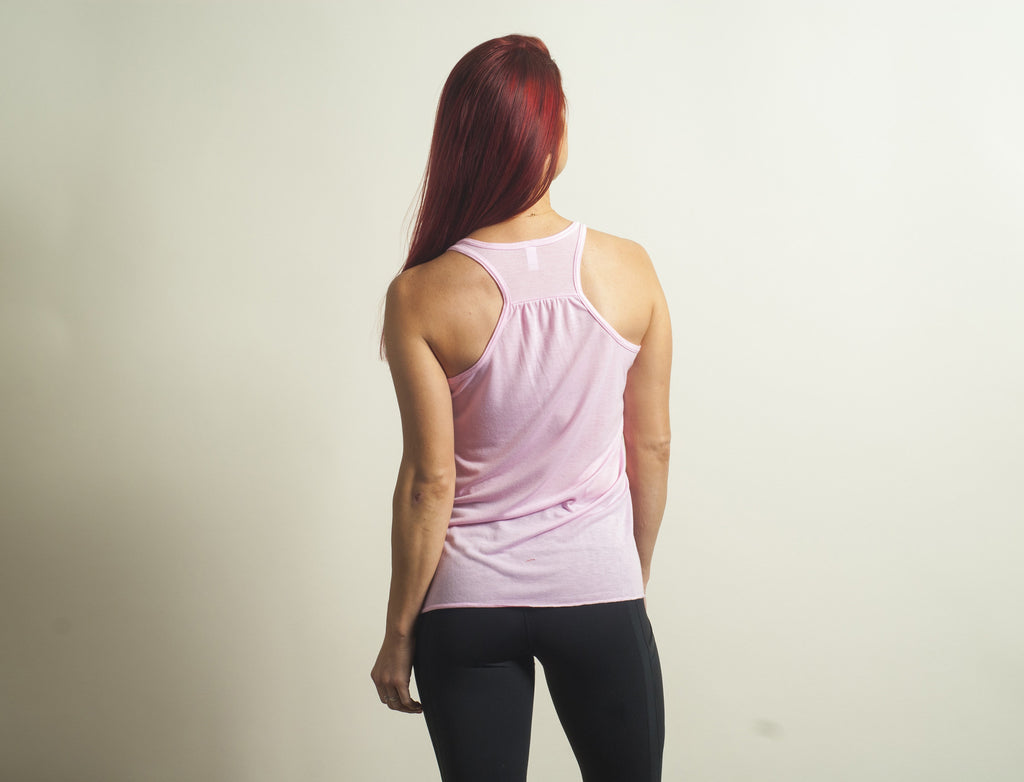 Light Pink Flowy Racerback Tank Top - Lady Tank