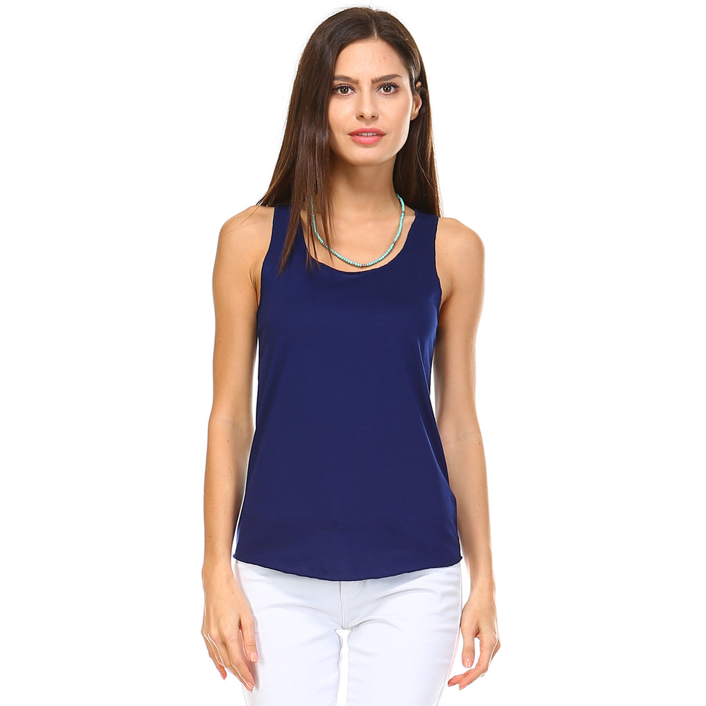 Navy Blue Razor Racerback Tank Top - Lady Tank