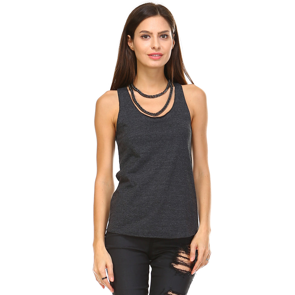 Black Tri-Blend Racerback Tank Top - Lady Tank