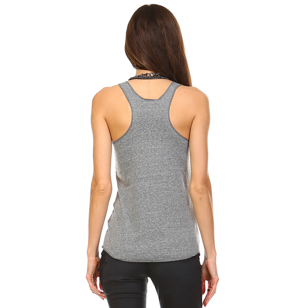 Dark Heather Tri-Blend Racerback Tank Top - Lady Tank
