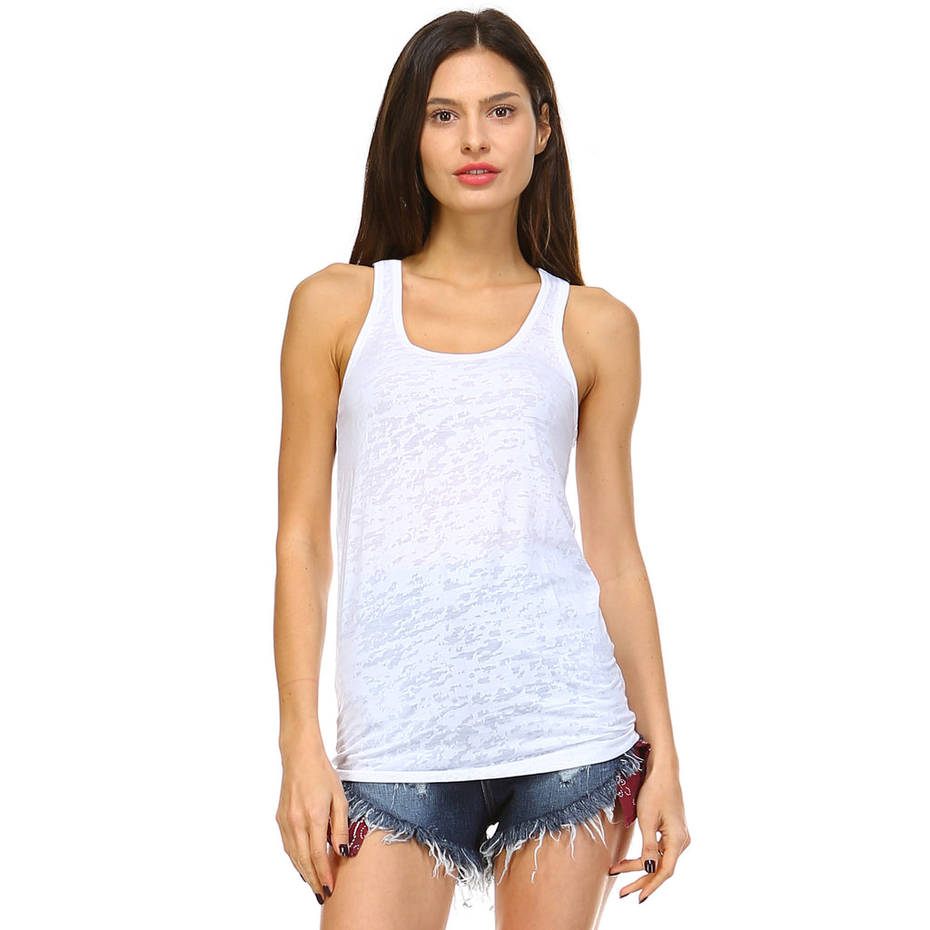 White Burnout Racerback Tank Top - Lady Tank
