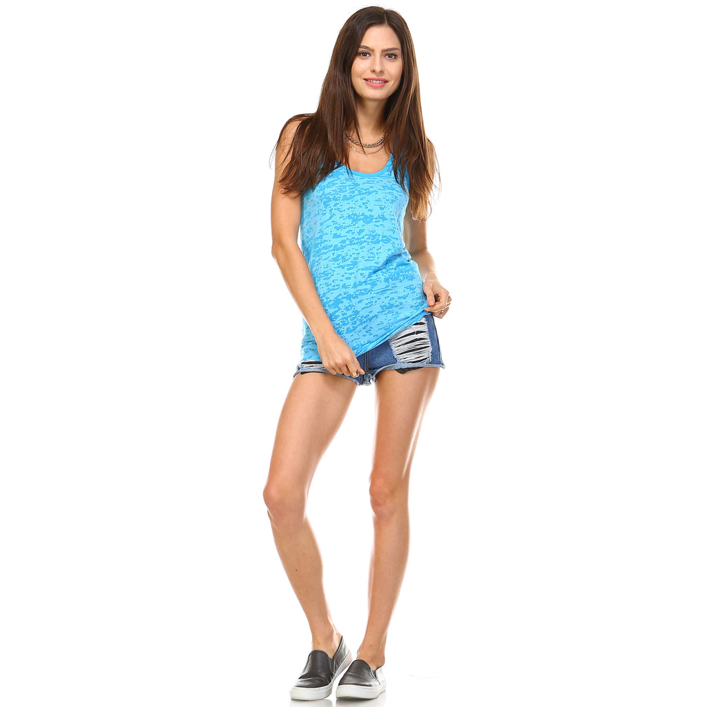 Ocean Blue Burnout Racerback Tank Top - Lady Tank