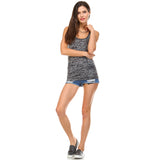 Charcoal Burnout Racerback Tank Top - Lady Tank