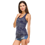 Navy Burnout Racerback Tank Top - Lady Tank