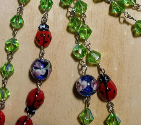 "Ladybug Garden Chain-- 72"" continuous necklace"