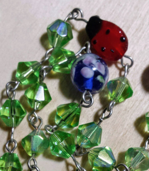 "Ladybug Garden Chain-- 72"" continuous necklace - Antika Nueva"