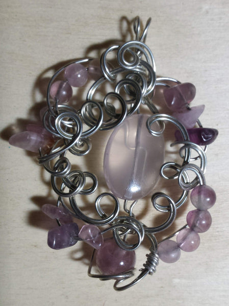 Ornate Swirls Rose Quartz and Fluorite Pendant - Antika Nueva