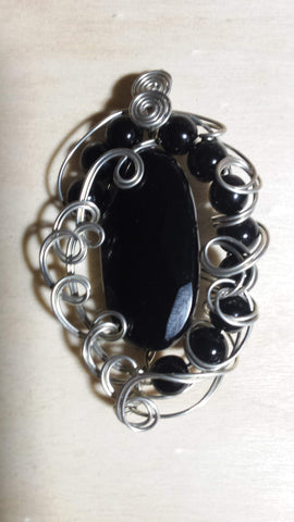 Faceted Onyx Ornate Swirls Pendant