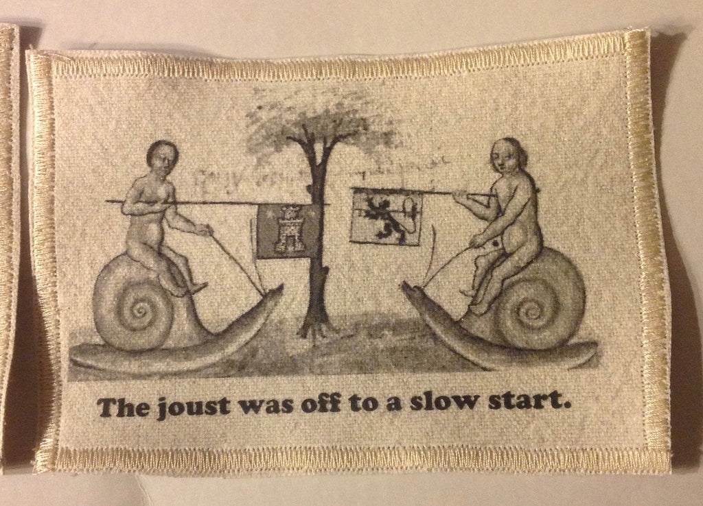 Cotton Canvas Handmade Sew-On Patch --Snail Joust Off To A Slow Start - Antika Nueva