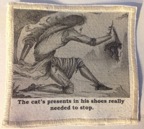 Cotton Canvas Handmade Sew-On Patch --The Cat's Presents In His Shoes - Antika Nueva