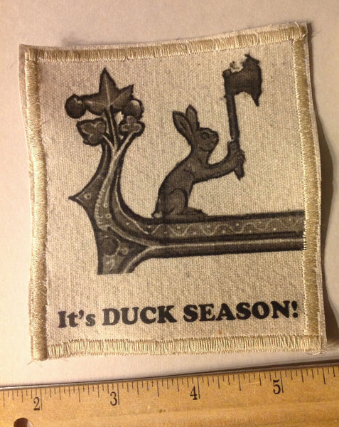 Cotton Canvas Handmade Sew-On Patch --Battle Bunny IT'S DUCK SEASON! - Antika Nueva
