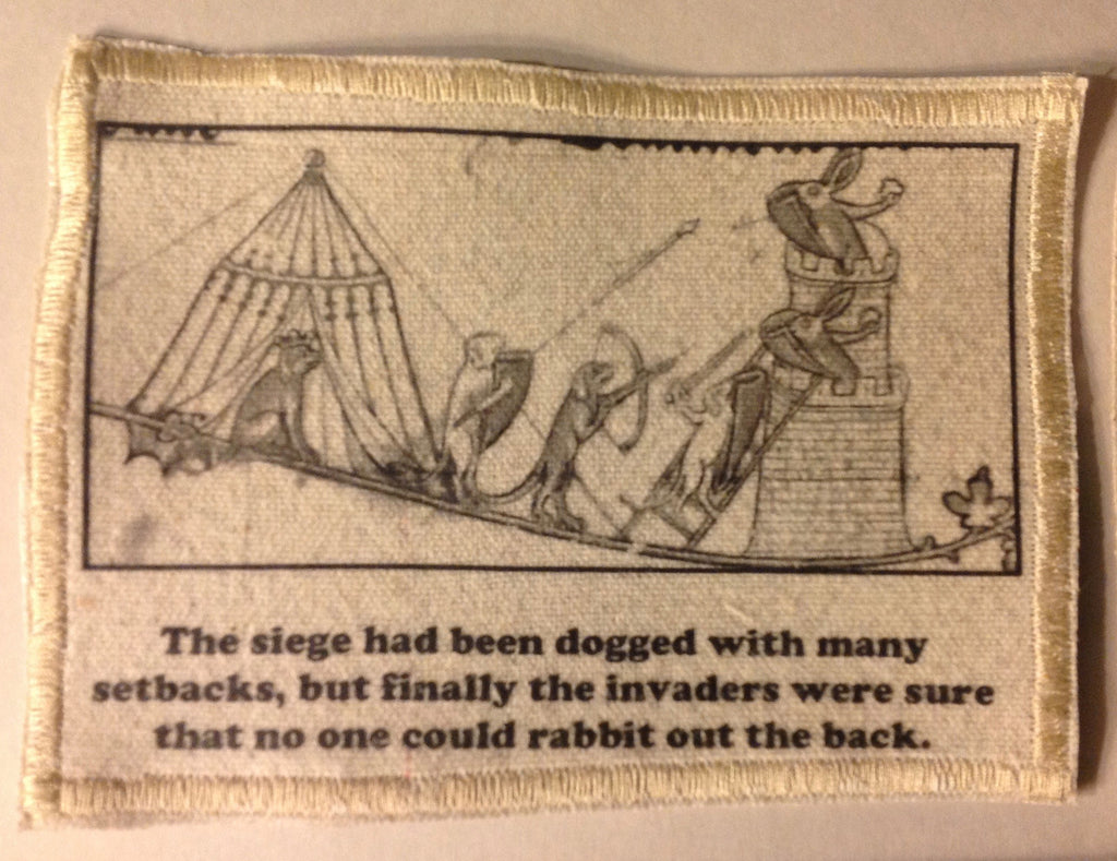 Cotton Canvas Handmade Sew-On Patch --Battle Bunny The Seige Was Dogged - Antika Nueva