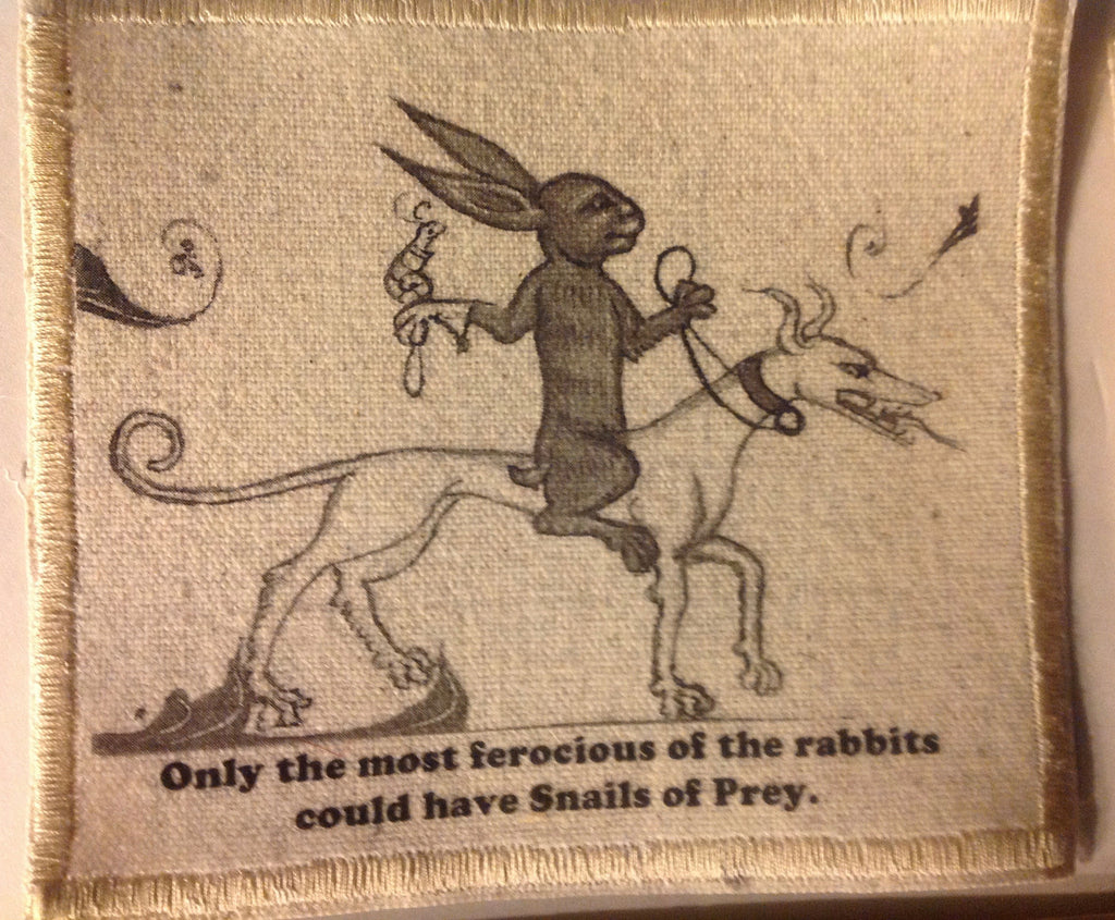 Cotton Canvas Handmade Sew-On Patch --Only the most ferocious of the rabbits could have Snails of Prey - Antika Nueva