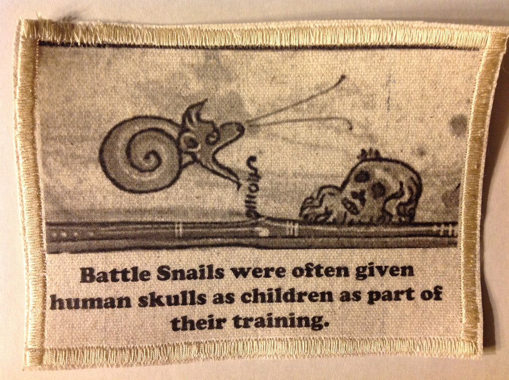 Cotton Canvas Handmade Sew-On Patch --Baby Battle Snails And Human Skulls (What?) - Antika Nueva