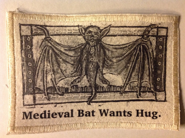 Cotton Canvas Handmade Sew-On Patch --Medieval Bat Wants Hug - Antika Nueva