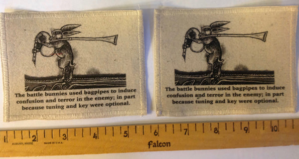 Cotton Canvas Handmade Sew-On Patch --Battle Bunny Bagpipers Cause Fear And Confusion - Antika Nueva