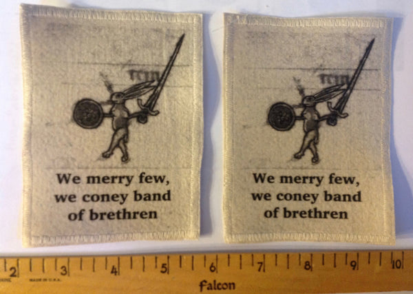 Cotton Canvas Handmade Sew-On Patch --We merry few, we coney band of brethren Rabbit With Sword - Antika Nueva