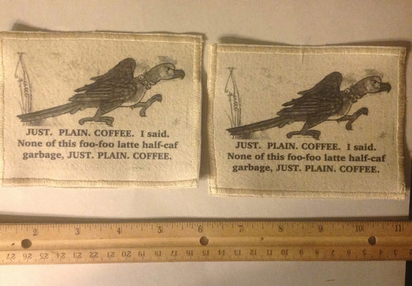 Cotton Canvas Handmade Sew-On Patch --JUST. PLAIN COFFEE.  Angry Bird - Antika Nueva